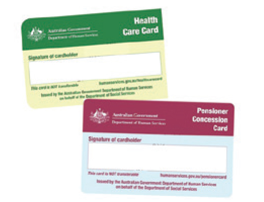 healthcare and pension cards