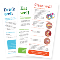 Drink well eat well clean well tip cards