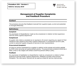 Management of supplier complaints and feedback procedure