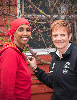 Para-cyclist of the year Carol Cooke and refugee advocate Mariam Issa