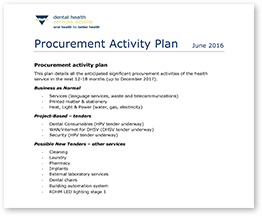 Procurement activity plan