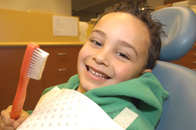 boy in a dental chair