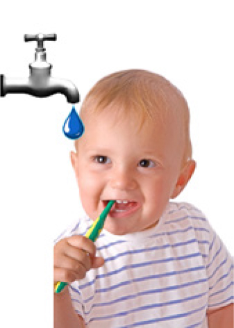 0-18 months – don't use toothpaste, just use water